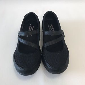 Skechers Mary Jane Loafers Black Knit Comfort 8.5